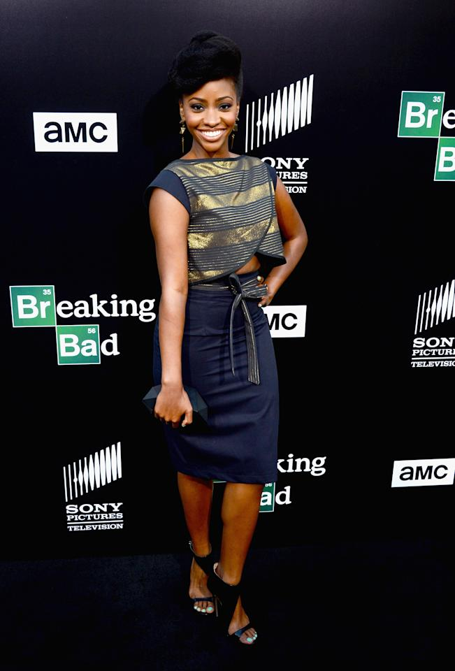 "CULVER CITY, CA - JULY 24: Actress Teyonah Parris arrives as AMC Celebrates the final episodes of ""Breaking Bad"" at Sony Pictures Studios on July 24, 2013 in Culver City, California. (Photo by Mark Davis/Getty Images)"