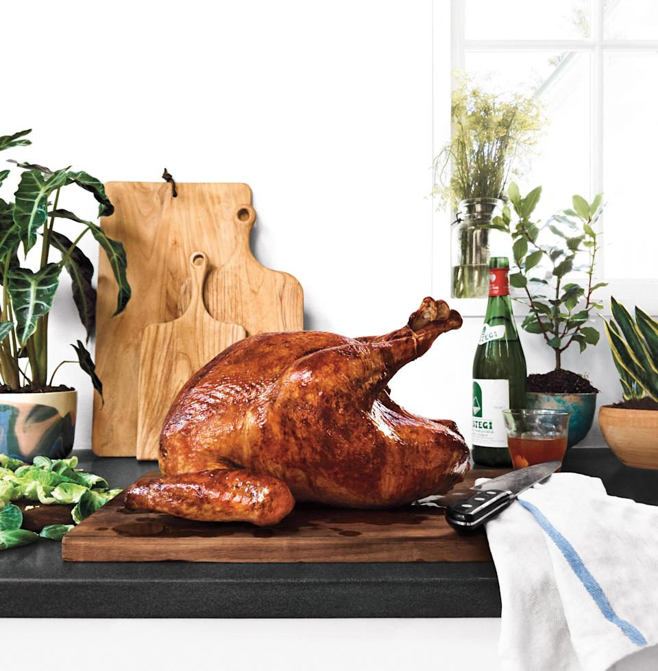 """Our never-fail turkey produces a holiday centerpiece that is excellent in every way that other turkeys often fall short. It's not bland, thanks to a sugar-and-salt dry rub. It's juicy as heck, because we nailed the optimal target temperature (might as well write 150° on your hand now). And cooking the turkey on a rimmed baking sheet is great for all-over browning. <a href=""""https://www.bonappetit.com/recipe/dry-rubbed-roast-turkey?mbid=synd_yahoo_rss"""" rel=""""nofollow noopener"""" target=""""_blank"""" data-ylk=""""slk:See recipe."""" class=""""link rapid-noclick-resp"""">See recipe.</a>"""