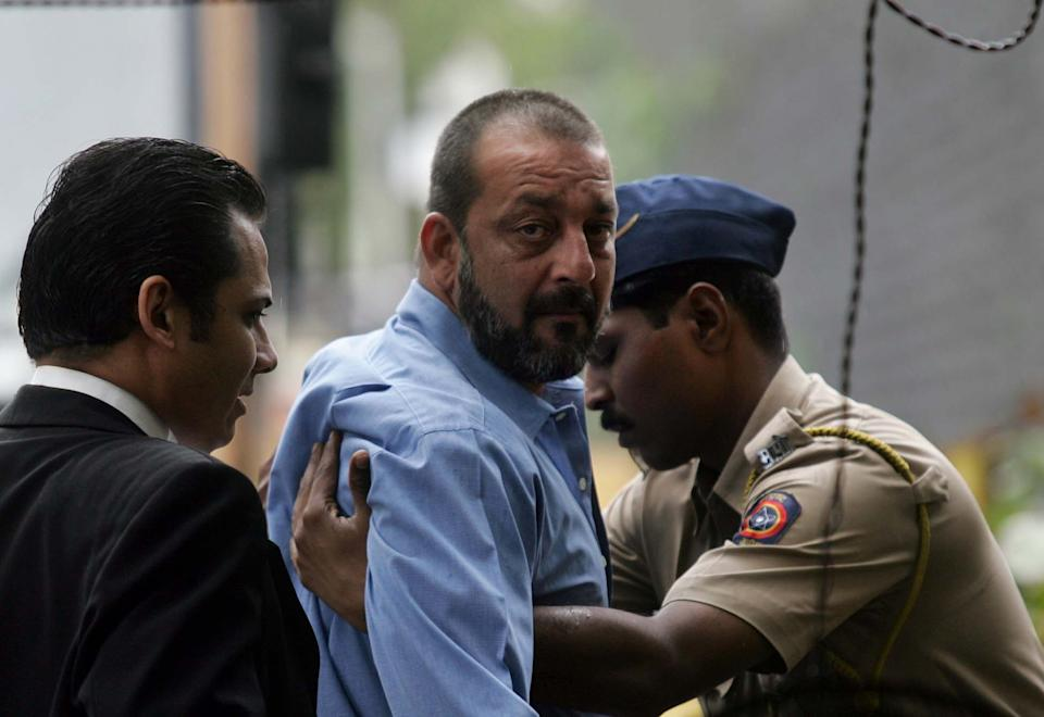 MUMBAI, INDIA - AUGUST 27, 2007: 1993 Mumbai Serial Bomb Blasts Case - The Legal Jhappi: Sanjay Dutt frisked at the entrance of the TADA court on Monday. (Photo by Kunal Patil/Hindustan Times via Getty Images)