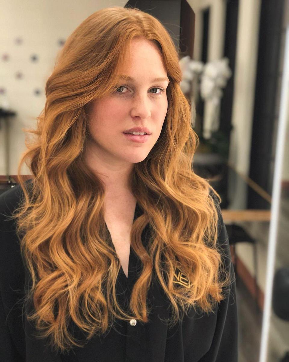 """""""I always feel drawn to gingers, because how much movement and reflection of light these toasty tones give off,"""" says Torres. For another pretty take on <a href=""""https://www.glamour.com/story/peach-hair-color-trend?mbid=synd_yahoo_rss"""" rel=""""nofollow noopener"""" target=""""_blank"""" data-ylk=""""slk:peachy tones"""" class=""""link rapid-noclick-resp"""">peachy tones</a>, ask for a warm toasty ginger with golden tones."""