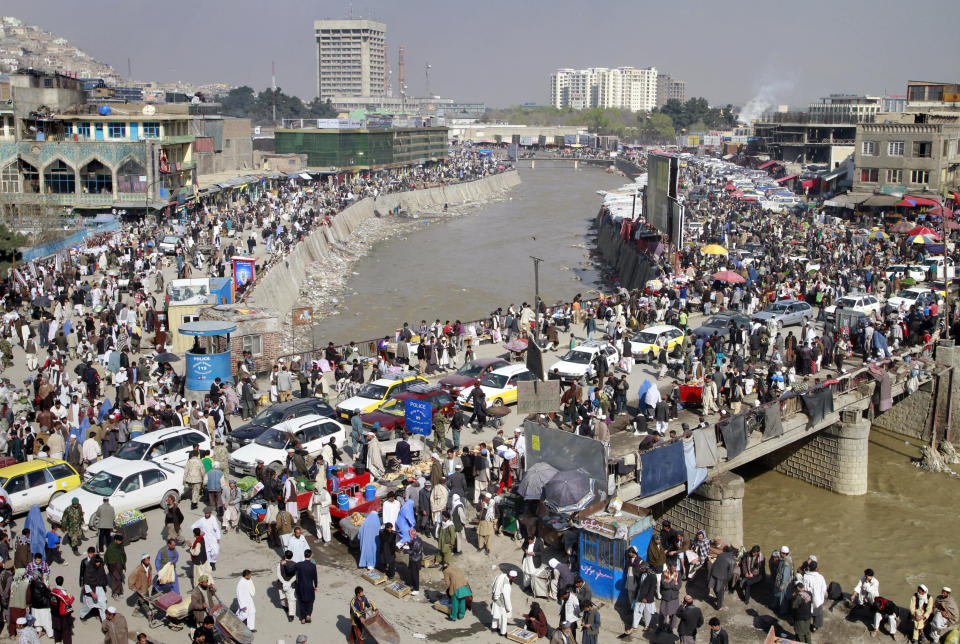 FILE - In this March 31, 2011 file photo, a general view of city is seen in Kabul, Afghanistan. The Taliban fighters who rolled into Afghanistan's capital and other cities in recent days appear awestruck by the towering apartment blocks, modern office buildings and shopping malls. When the Taliban last seized power, in 1996, the country had been ravaged by civil war and the capital was in ruins. (AP Photo/Musadeq Sadeq, File)