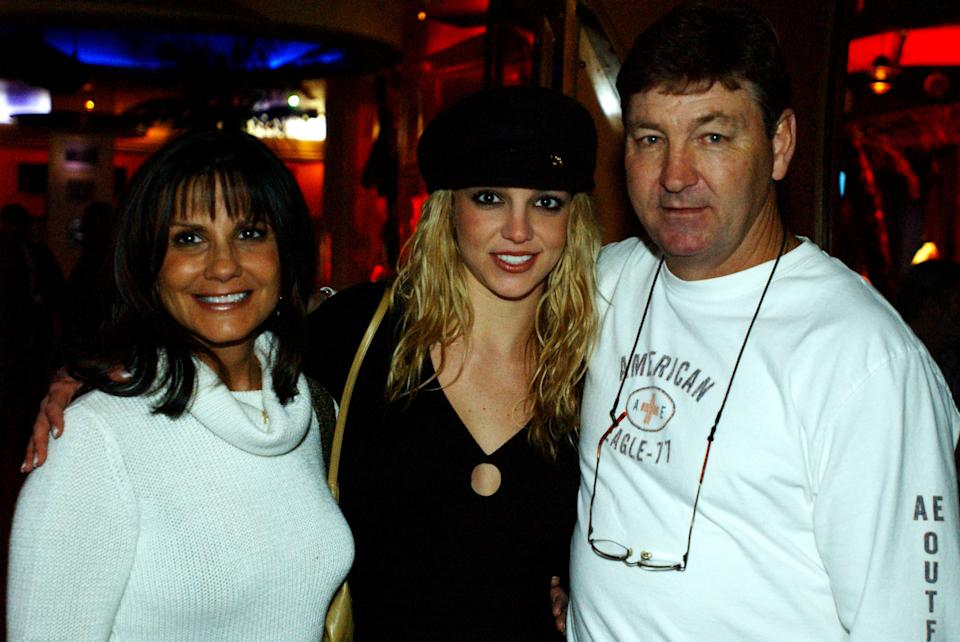 Britney Spears with her parents during Britney Spears at Planet Hollywood, Las Vegas Party at the Planet Hollywood, Las Vegas in Las Vegas, Nevada.  (Photo by Denise Truscello/WireImage)