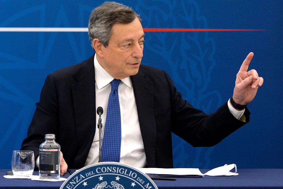 """The Italian premier Mario Draghi during a press conference about the last European Council and about the vaccines. Rome (Italy), March 26th 2021 (Photo by Insidefoto/Stefano Carofei/Pool Mondadori Portfolio via Getty Images)""""n (Photo: Mondadori Portfolio via Getty Images)"""