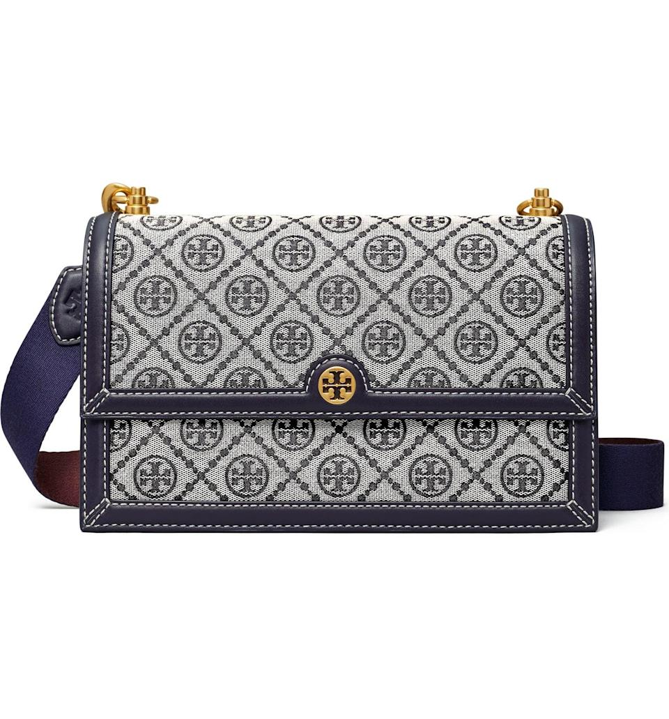 <p>This <span>T Monogram Jacquard Shoulder Bag</span> ($548) looks classic and sophisticated, thanks to the structured look, gold accents, and monogram jacquard. The color palette also makes it quite easy to style.</p>