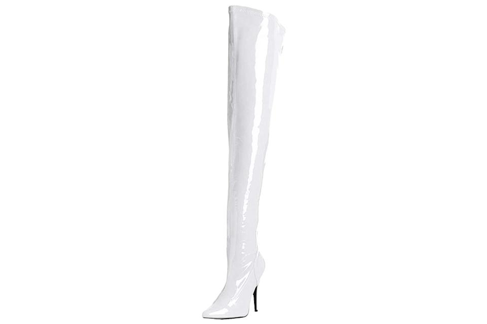 pleaser, white boots
