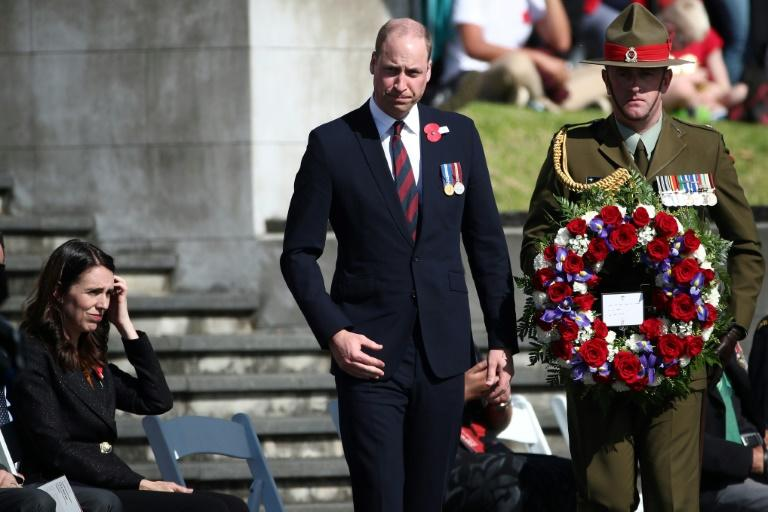 Britain's Prince William at a wreath-laying ceremony during Anzac Day commemorations in Auckland
