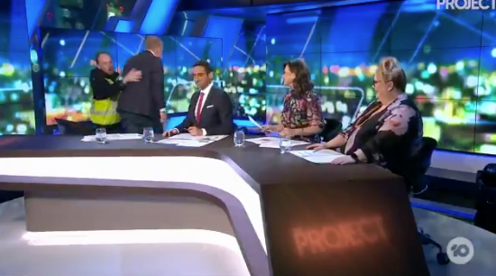 The Project hosts Waleed Aly, Lisa Wilkinson and Magda Szubanski watched on as Peter Helliar was escorted off set on Channel Ten
