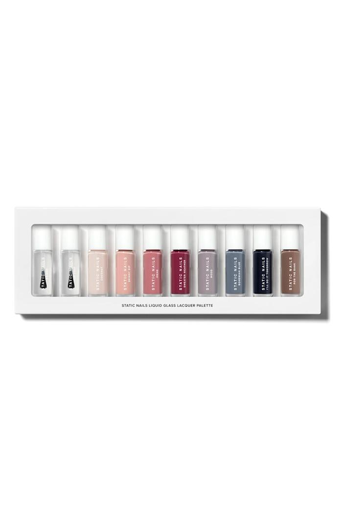 """<p><strong>Static Nails</strong></p><p>nordstrom.com</p><p><strong>$55.00</strong></p><p><a href=""""https://go.redirectingat.com?id=74968X1596630&url=https%3A%2F%2Fwww.nordstrom.com%2Fs%2Fstatic-nails-sweater-weather-nail-color-set-limited-edition%2F6268760&sref=https%3A%2F%2Fwww.prevention.com%2Fbeauty%2Fg37678990%2Fbest-nail-polish-gift-sets%2F"""" rel=""""nofollow noopener"""" target=""""_blank"""" data-ylk=""""slk:SHOP NOW"""" class=""""link rapid-noclick-resp"""">SHOP NOW</a></p><p>If you know someone who has fragile nails due to excessive acrylic use, give them this liquid glass nail lacquer set. The polishes are formulated with rich pigments and natural ingredients like rosehip, marula oil, and balm mint to help nourish and promote healthy nails. The set also comes with 10-pieces in total, including a clear primer and topcoat.</p>"""