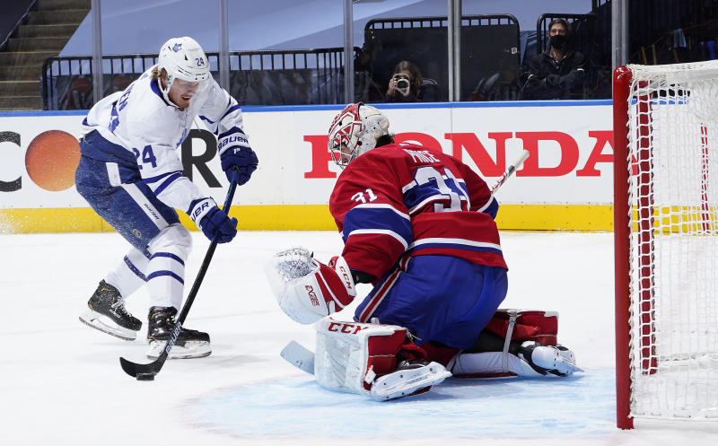 TORONTO, ONTARIO - JULY 28: Kasperi Kapanen #24 of the Toronto Maple Leafs tries for a shot on goal against Carey Price #31 of the Montreal Canadiens in the second period in an exhibition game prior to the 2020 NHL Stanley Cup Playoffs at Scotiabank Arena on July 28, 2020 in Toronto, Ontario. (Photo by Mark Blinch/NHLI via Getty Images)
