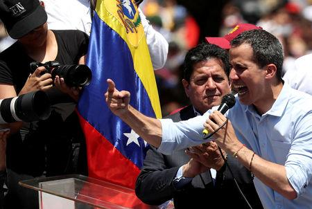 Venezuelan opposition leader Juan Guaido, who many nations have recognized as the country's rightful interim ruler, attends a rally against Venezuelan President Nicolas Maduro's government in Caracas, Venezuela, April 6, 2019. REUTERS/Ivan Alvarado