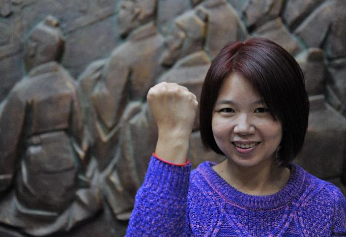 Lin Li-chan poses for photo after a meeting at the Education Ministry in Taipei (AFP Photo/Sam Yeh)