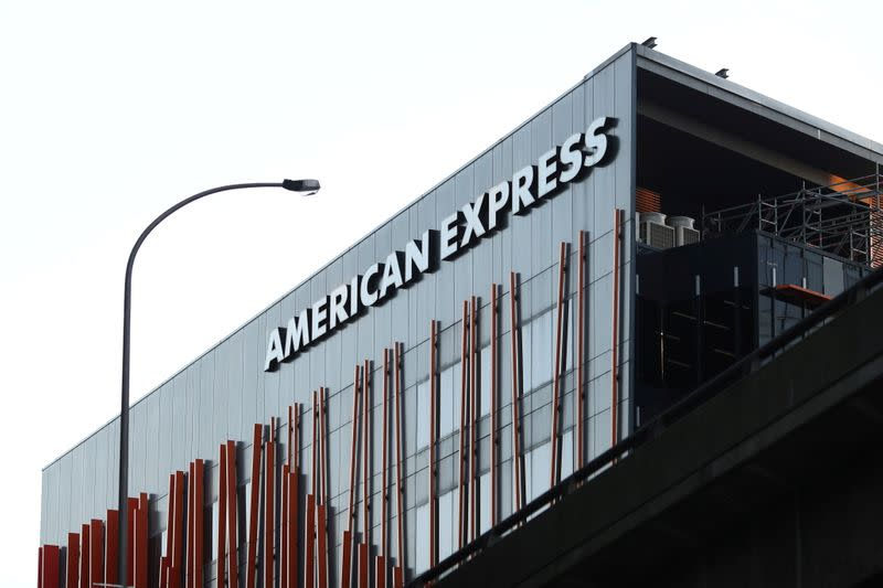 FILE PHOTO: An office building with American Express logo is seen in Sydney