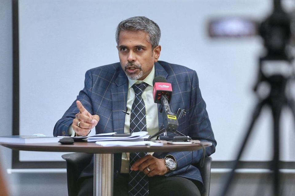 Newly elected Malaysian Bar president AG Kalidas speaks during a press conference at Malaysia Bar council building March 13,2021. — Picture by Ahmad Zamzahuri