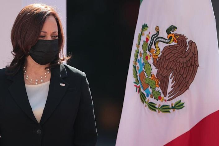 U.S. Vice President Kamala Harris looks on during the signing of a memorandum of understanding focused on immigration issues in America at Palacio Nacional Tuesday in Mexico City, Mexico. (Photo by Hector Vivas/Getty Images)