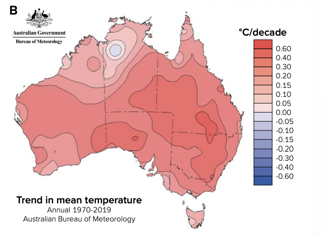 A map of predicted higher temperatures.