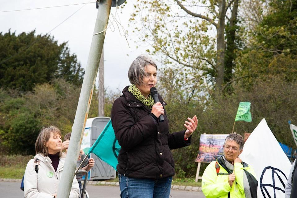 Sarah Finch speaks at a Horse Hill demonstration in October 2019Bryn Truscott