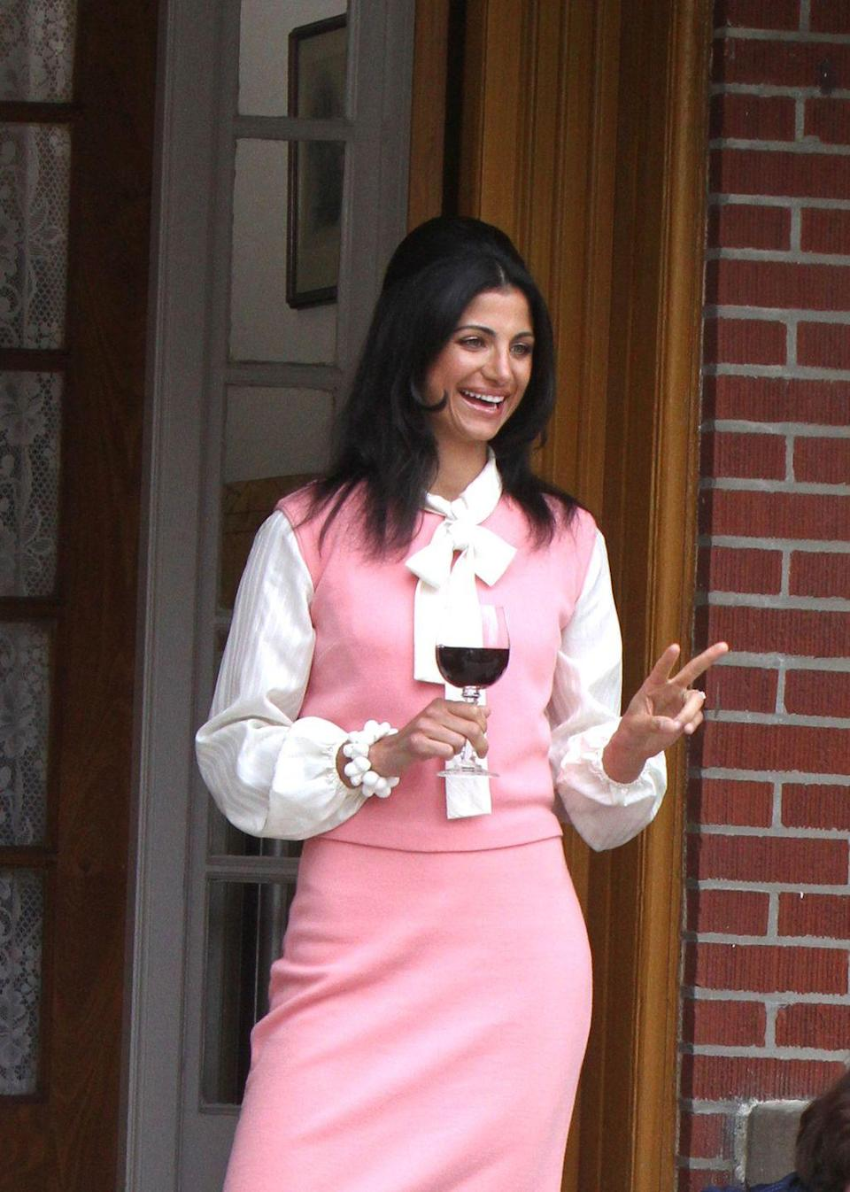 <p>Gabriella Piazza is seen on the set of <em>The Many Saints of Newark</em> on May 31, 2019 in New York City.</p>