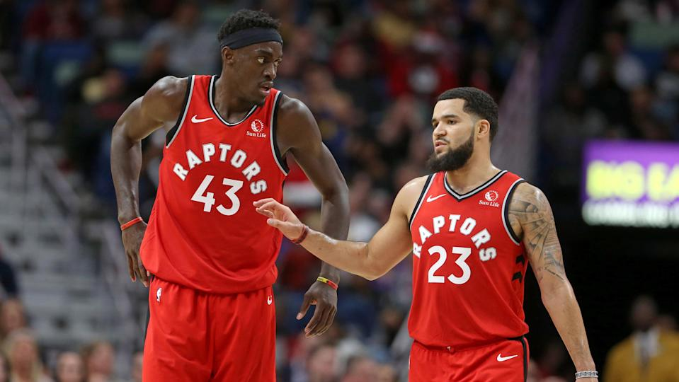 Nov 8, 2019; New Orleans, LA, USA; Toronto Raptors forward Pascal Siakam (43) and guard Fred VanVleet (23) talk in the second quarter against the New Orleans Pelicans at the Smoothie King Center. Mandatory Credit: Chuck Cook-USA TODAY Sports