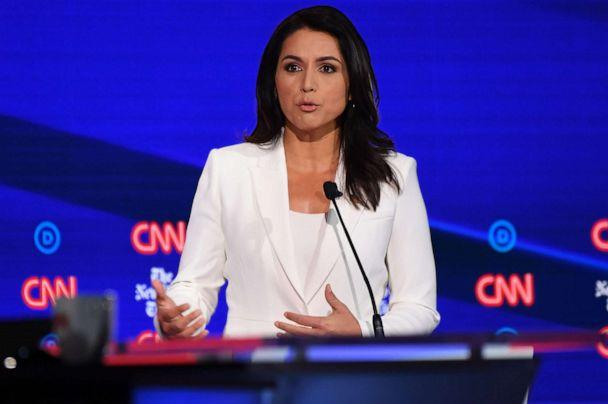 PHOTO: Democratic presidential hopeful Tulsi Gabbard speaks during the fourth Democratic primary debate of the 2020 presidential campaign season in Westerville, Ohio on Oct. 15, 2019. (Saul Loeb/AFP via Getty Images, FILE)