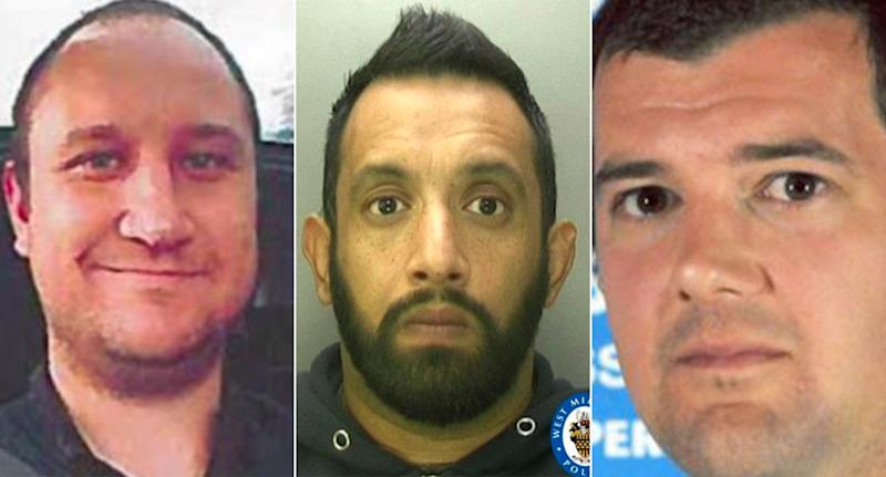 Disgraced officers Ian Naude (left), Palvinder Singh and Sussex chief inspector Rob Leet all abused their positions. (PA)