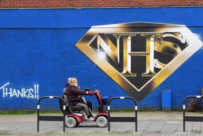 Mural praising the NHS (National Health Service) is seen amidst the continuation of the coronavirus disease (COVID-19) pandemic, London