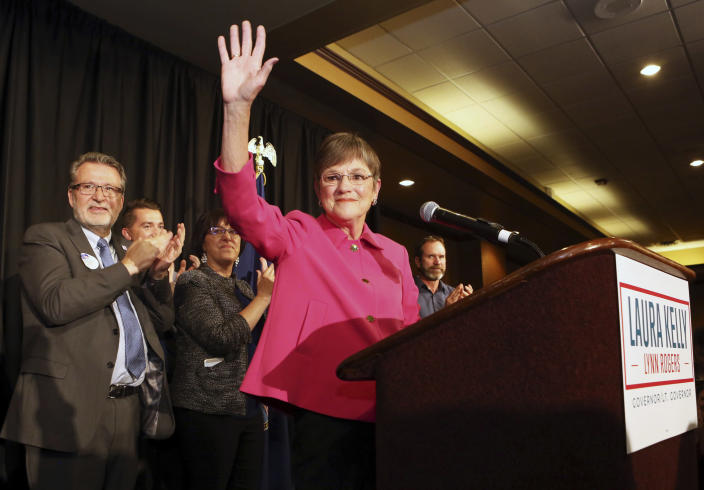 Democrat Laura Kelly waved to the crowd in Topeka on Nov. 6, 2018, after she was elected governor of Kansas. (Photo: Thad Allton/Topeka Capital-Journal via AP)