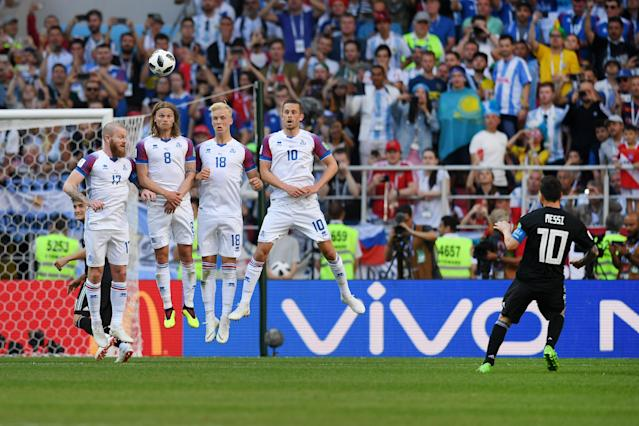 <p>There was no luck from a free-kick either for super star Messi as Iceland hold firm </p>