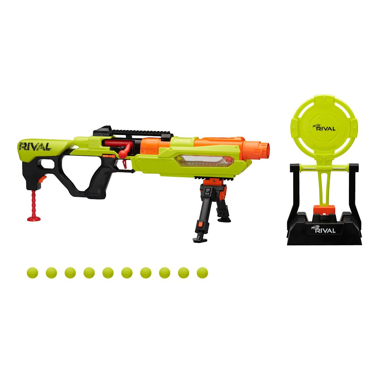 "Nerf Rival competitors can practice their skills with this Edge Series blaster and targeting set! The Jupiter XIX-1000 blaster comes with an audible reactive target that swings and makes a sound when hit, so they can check their precision with every shot. This bolt-action blaster includes 10 Official Nerf Rival rounds and has a clear window to see how many rounds are left inside. <a href=""https://fave.co/2PC5Fzp"" rel=""nofollow noopener"" target=""_blank"" data-ylk=""slk:Find it for $50 at Walmart"" class=""link rapid-noclick-resp""><strong>Find it for $50 at Walmart</strong> </a>."