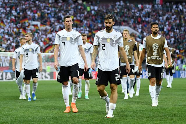 Germany leaves the pitch deflated after being defeated by Mexico at the 2018 World Cup (Getty).