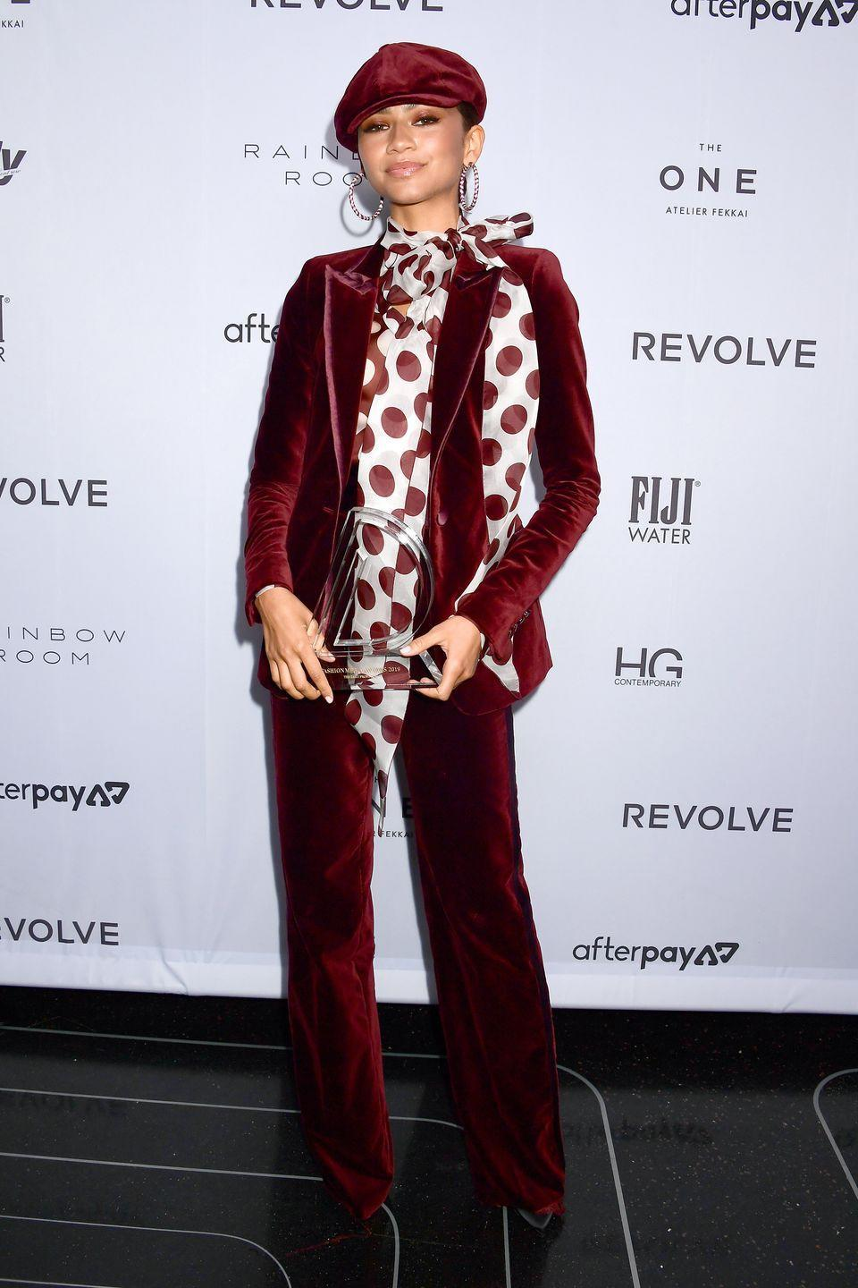 <p>Here's Zendaya wearing, well, Zendaya. At the <em>Daily Front Row</em> Awards, she shut it down in this funky velvet suit from her own collaborative line with Tommy Hilfiger.</p>
