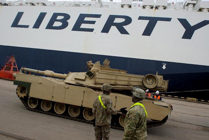 An Abrams tank is seen during delivery in the port of Riga on March 9, 2015 (AFP Photo/Ilmars Znotins)