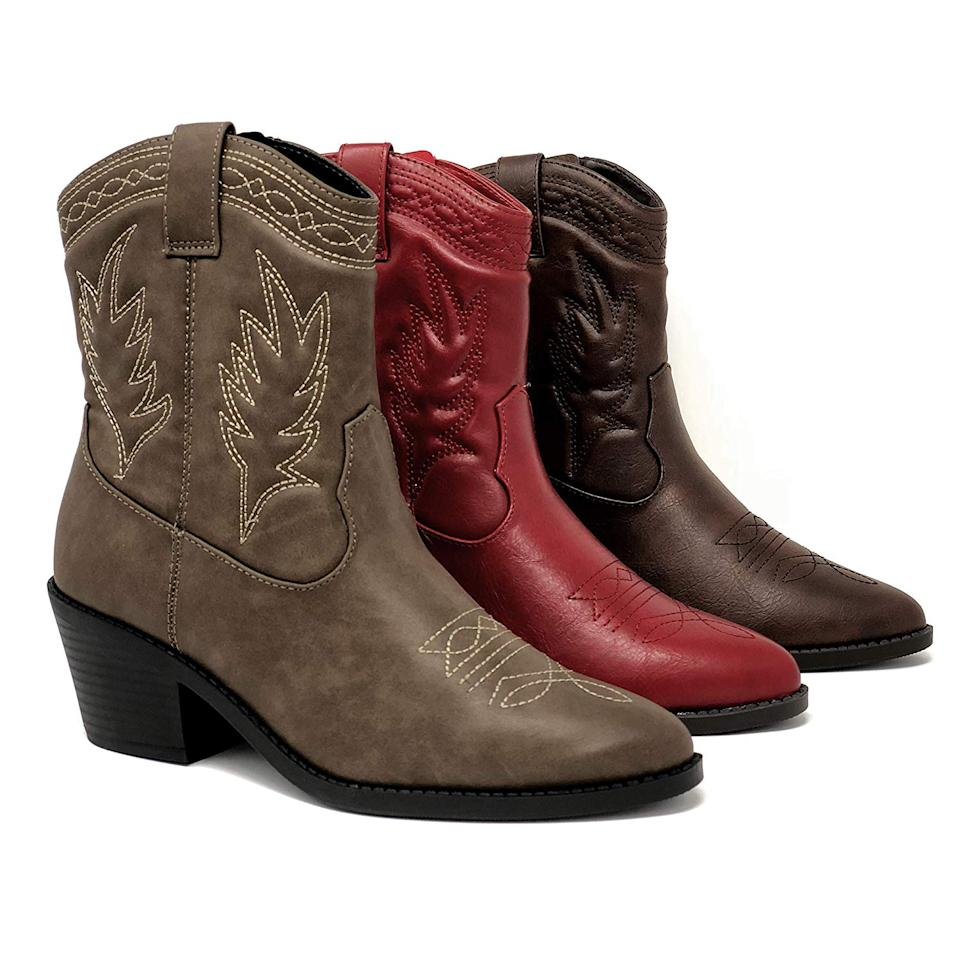 """<br><br><strong>Soda</strong> Western Stitched Ankle Boots, $, available at <a href=""""https://www.amazon.com/SODA-Topshoeave-Picotee-Western-Stitched/dp/B07HLS4YV2/ref=sr_1_25"""" rel=""""nofollow noopener"""" target=""""_blank"""" data-ylk=""""slk:Amazon"""" class=""""link rapid-noclick-resp"""">Amazon</a>"""