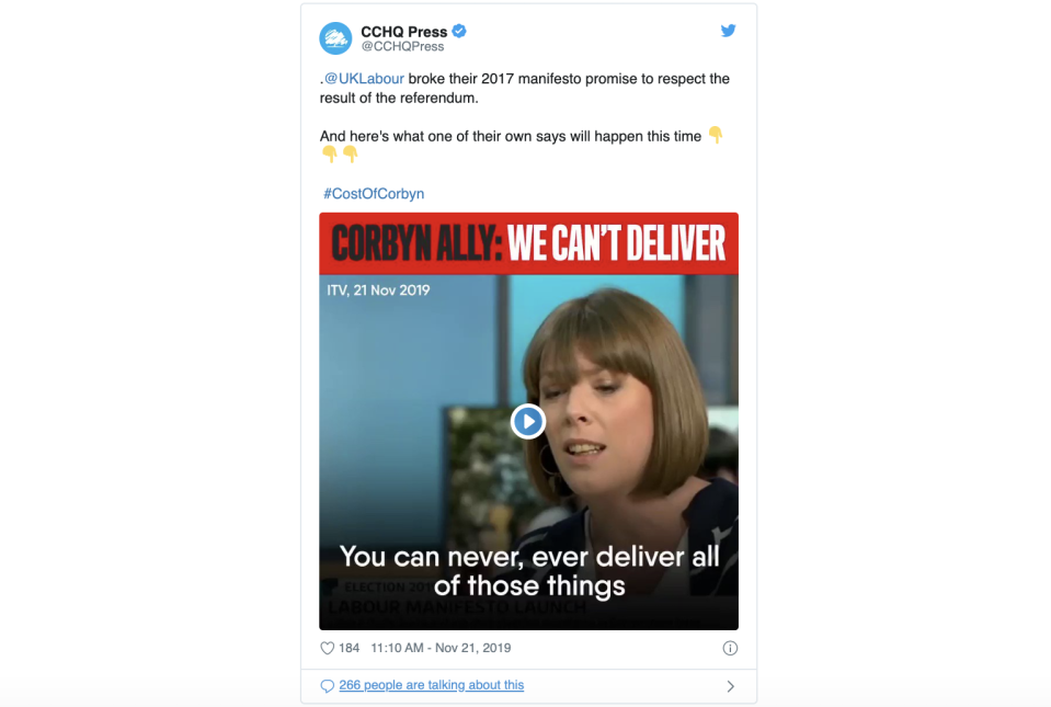 The Conservatives have deleted a tweet with Jess Phillips criticising manifestos in an interview recorded in October.