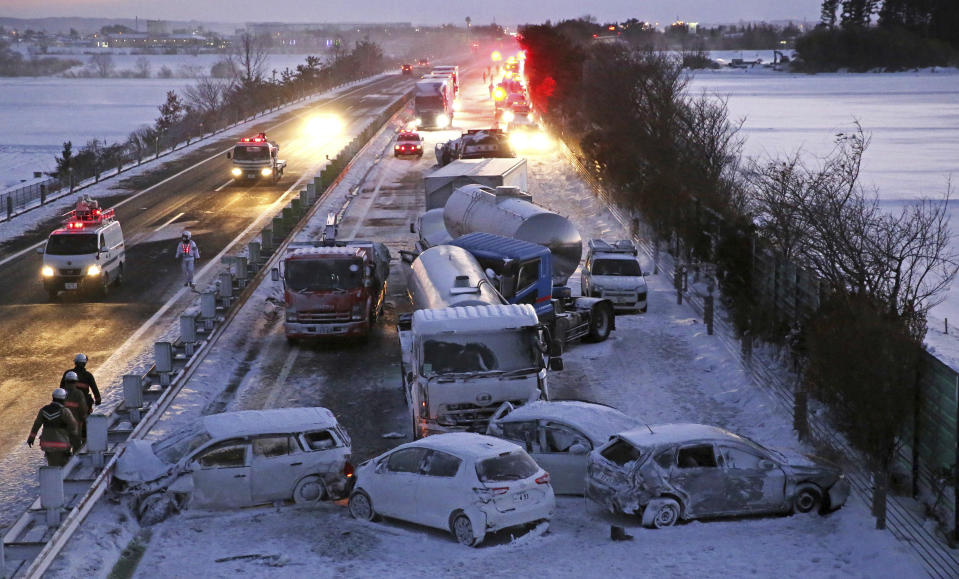 A photo shows an accident site caused by snow on the Tohoku Expressway in Osaki City, Miyagi Prefecture, northern Japan, on January 19, 2021.