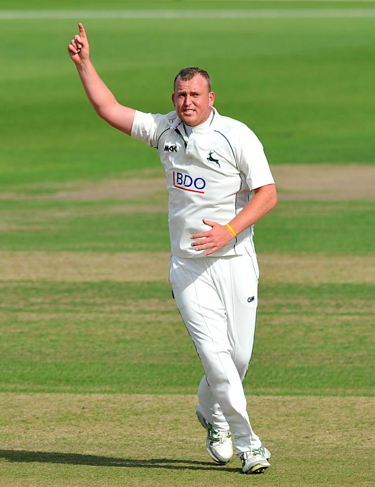 Nottinghamshire's Luke Fletcher celebrates taking the wicket of Somerset's James Hildreth during the LV= County Championship, Division One match at Trent Bridge, Nottingham.
