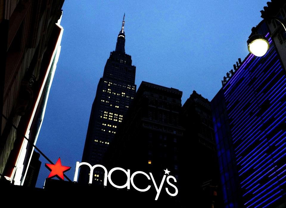 Copyright 2016 The Associated Press. All rights reserved. This material may not be published, broadcast, rewritten or redistributed without permission. Mandatory Credit: Photo by Mark Lennihan/AP/REX/Shutterstock (6222347a) A Macy's sign is illuminated on a store marquis, in New York Macys, New York, USA - 17 Sep 2016