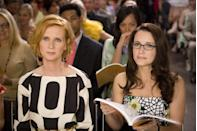 <p>Feisty lawyer Miranda Hobbes mostly stuck to office-appropriate attire in the early seasons of SATC, but definitely hit her style groove a little later on. Tailored silhouettes and graphic prints gradually replaced her mannish shirts, while streamlined silver accessories happily replaced her penchant for delicate chandeliers which simply got lost in her hair.</p>