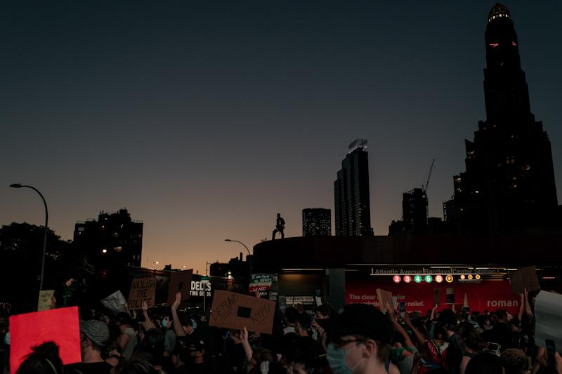 NEW YORK, NY - JUNE 06: Demonstrators denouncing systemic racism and the police killings of black Americans take to the streets in the borough of Brooklyn on June 6, 2020 in New York City. This is the 12th day of protests since George Floyd died in Minneapolis police custody on May 25. (Photo by Scott Heins/Getty Images)