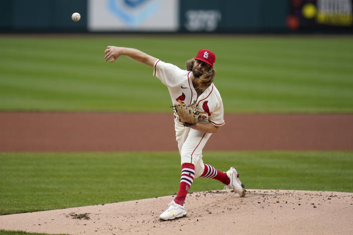 St. Louis Cardinals starting pitcher John Gant throws during the first inning of a baseball game against the Cincinnati Reds Saturday, April 24, 2021, in St. Louis. (AP Photo/Jeff Roberson)