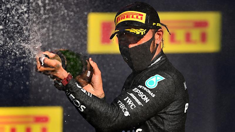 Lewis Hamilton, pictured here celebrating after winning the F1 Grand Prix of Tuscany.