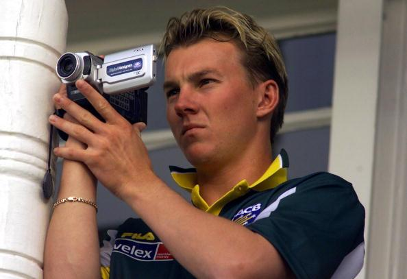 19 Jun 2001:  Brett Lee of Australia films from the player's balcony, during the One Day International between Australia and Pakistan, Trent Bridge, Nottingham, England.  DIGITAL IMAGE Mandatory Credit: Hamish Blair/ALLSPORT