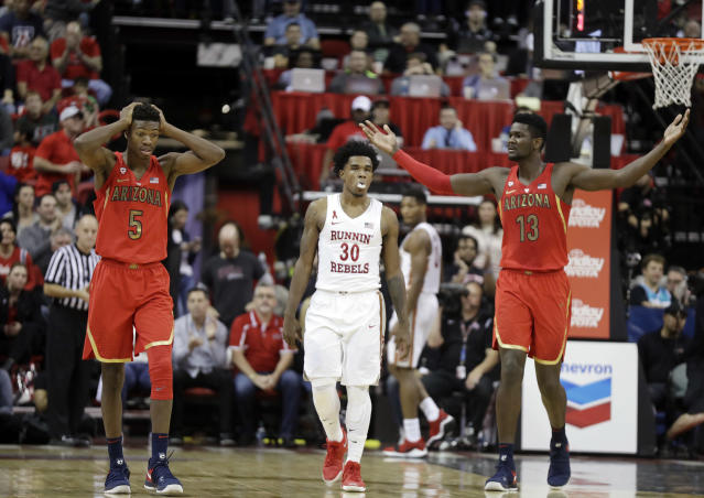 Arizona rallied from 13 down to salvage a victory at UNLV. (AP)