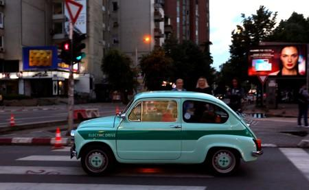A converted supermini car Zastava 750, which has its combustion engine replaced with an electric one by BB Classic Cars, drives in Skopje