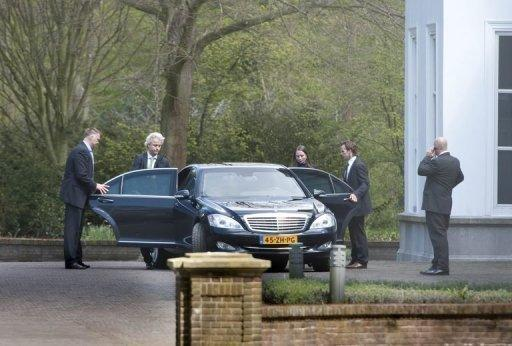 Dutch PVV party leader Geert Wilders (L) and MP Fleur Agema leave the Catshuis in The Hague, the official residence of the prime minister. Key talks on a 16-billion-euro austerity package to rescue the Dutch economy broke down, leaving the government on the brink of collapse