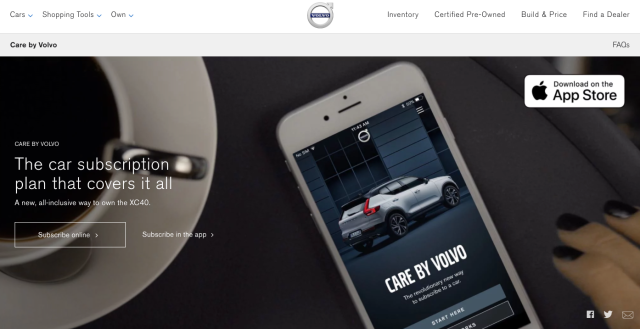 Care by Volvo website