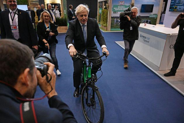 <strong>Boris Johnson on an e-Bike. Bikes are a recurring theme among Conservatives.</strong> (Photo: PAUL ELLIS via Getty Images)