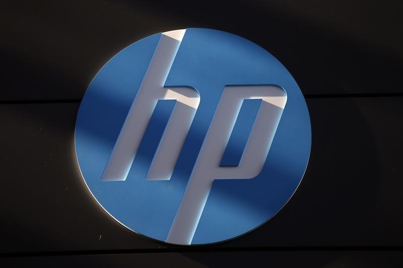 A Hewlett-Packard logo is seen at the company's Executive Briefing Center in Palo Alto