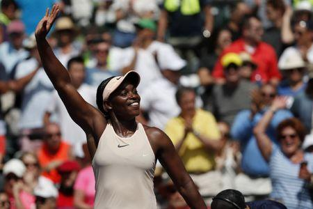 Mar 29, 2018; Key Biscayne, FL, USA; Sloane Stephens of the United States waves to the crowd after her match against Victoria Azarenka of Belarus (not pictured) in a women's singles semi-final of the Miami Open at Tennis Center at Crandon Park.  Mandatory Credit: Geoff Burke-USA TODAY Sports