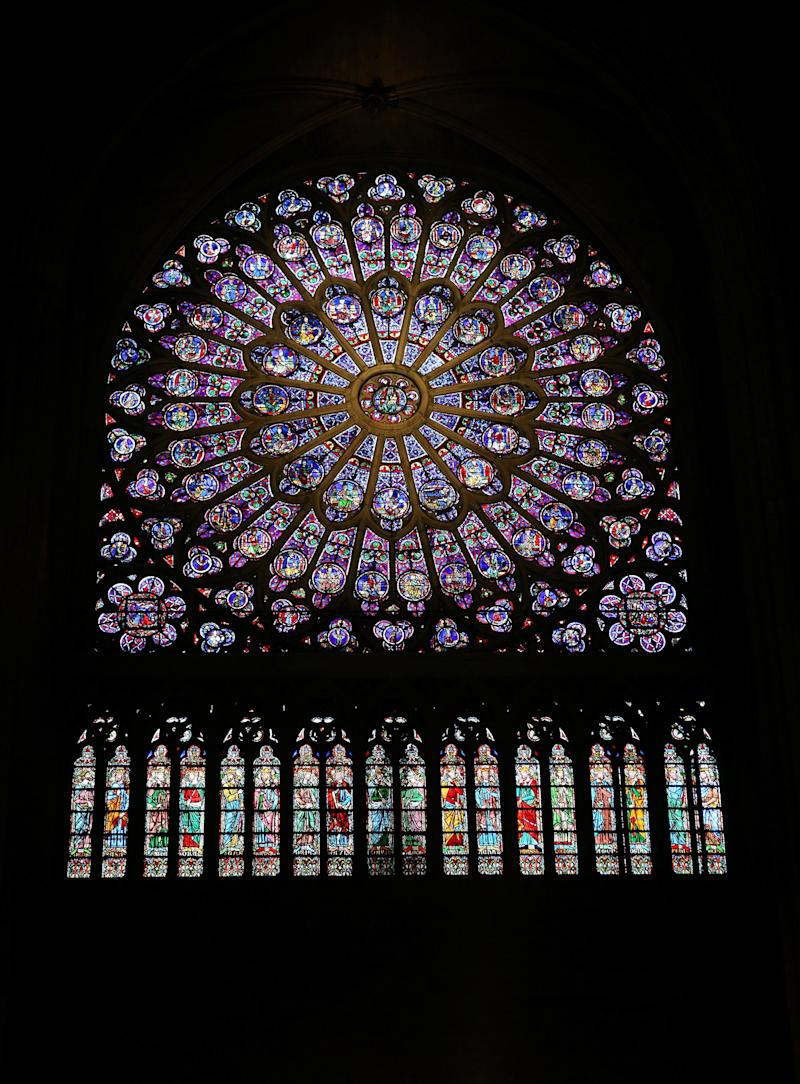 File photo dated 01/03/15 of the North Rose stained glass window at Notre Dame cathedral in Paris, France, which is feared to have been destroyed by fire.