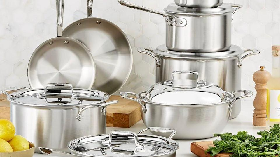 This stainless-steel set has five-ply steel.